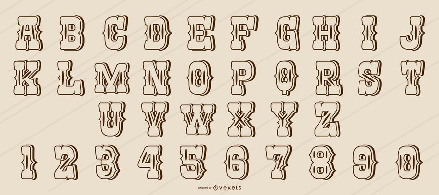 Western style stroke alphabet