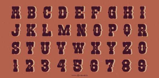 Western Saloon Style Alphabet Brief Sammlung
