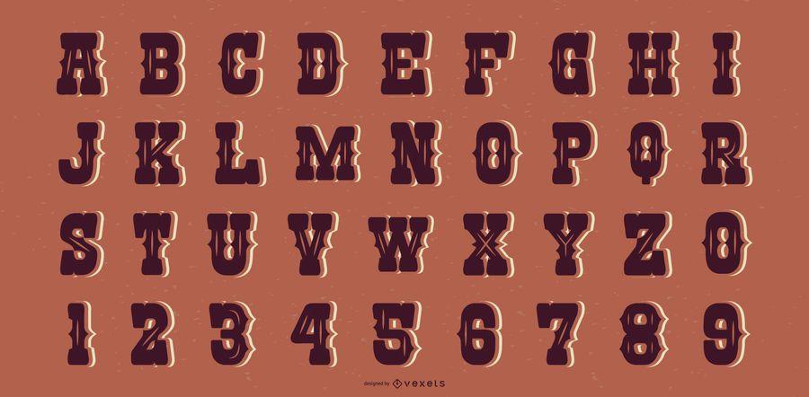 Colección de letras del alfabeto estilo salón occidental