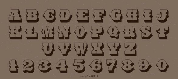 Pacote de números de letras do alfabeto estilo ocidental