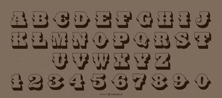 Paquete de números de letras del alfabeto de estilo occidental