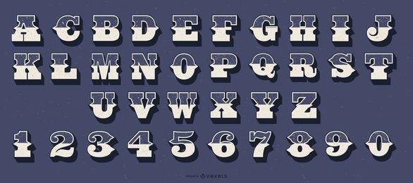 Conjunto de número de letra del alfabeto de estilo occidental