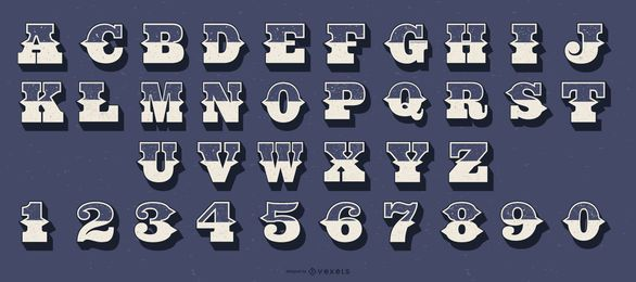 Conjunto de números de letras do alfabeto estilo ocidental