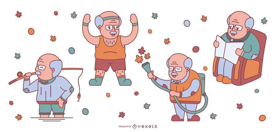 Pacote de ilustração de vovô bonito de design plano