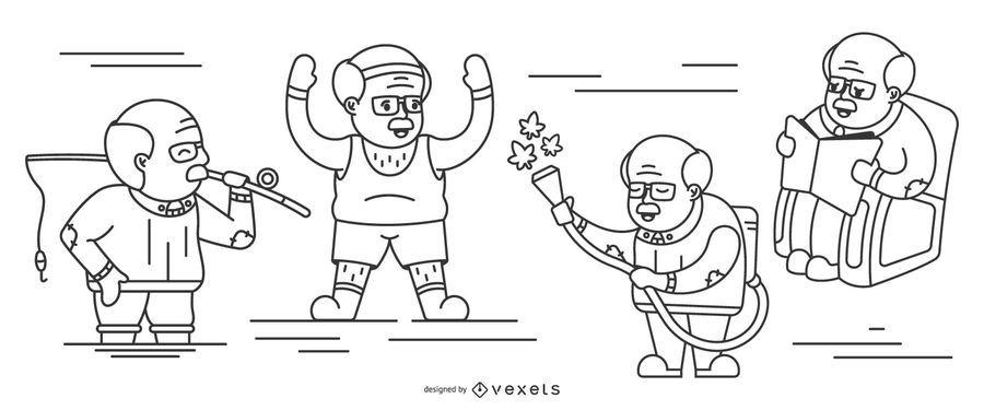 Grandpa Stroke Illustration Pack