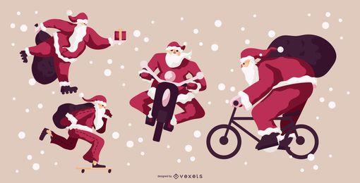 Pacote de ilustração de ação do Papai Noel