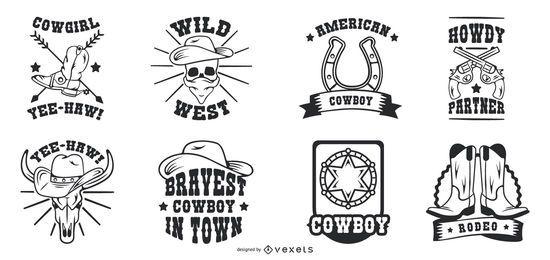 Conjunto de insignias de vaquero vintage