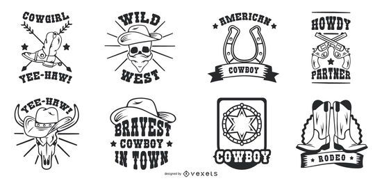 Vintage Cowboy Badge Set