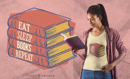 Design de t-shirt de repetição de livros