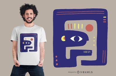 Desenho de camiseta de criatura abstrata azul