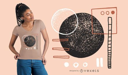 Diseño de camiseta de formas irregulares abstractas.