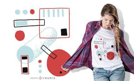 Diseño de camiseta de formas multicolores abstractas