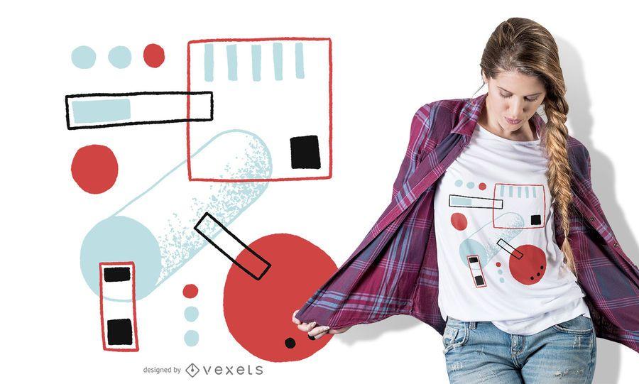 Diseño de camiseta abstracta de formas multicolores