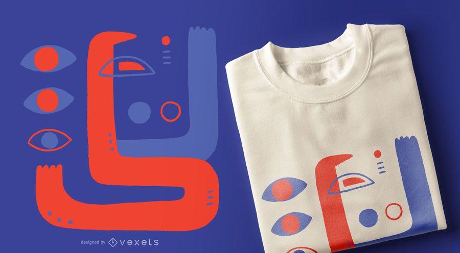 Diseño de camiseta de ojos abstractos