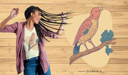 Diseño de camiseta de pájaro cantando