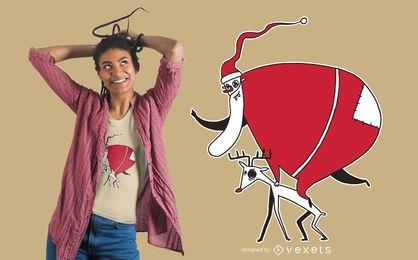 Diseño de camiseta de ciervo montando santa
