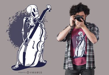 Diseño de camiseta de violonchelo esqueleto