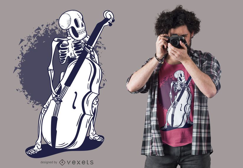 Skeleton cello t-shirt design