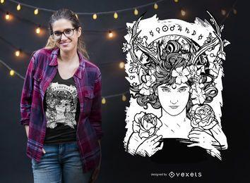 Design de t-shirt de bruxa Art Nouveau