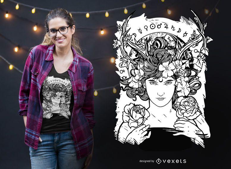 Diseño de camiseta de bruja art nouveau