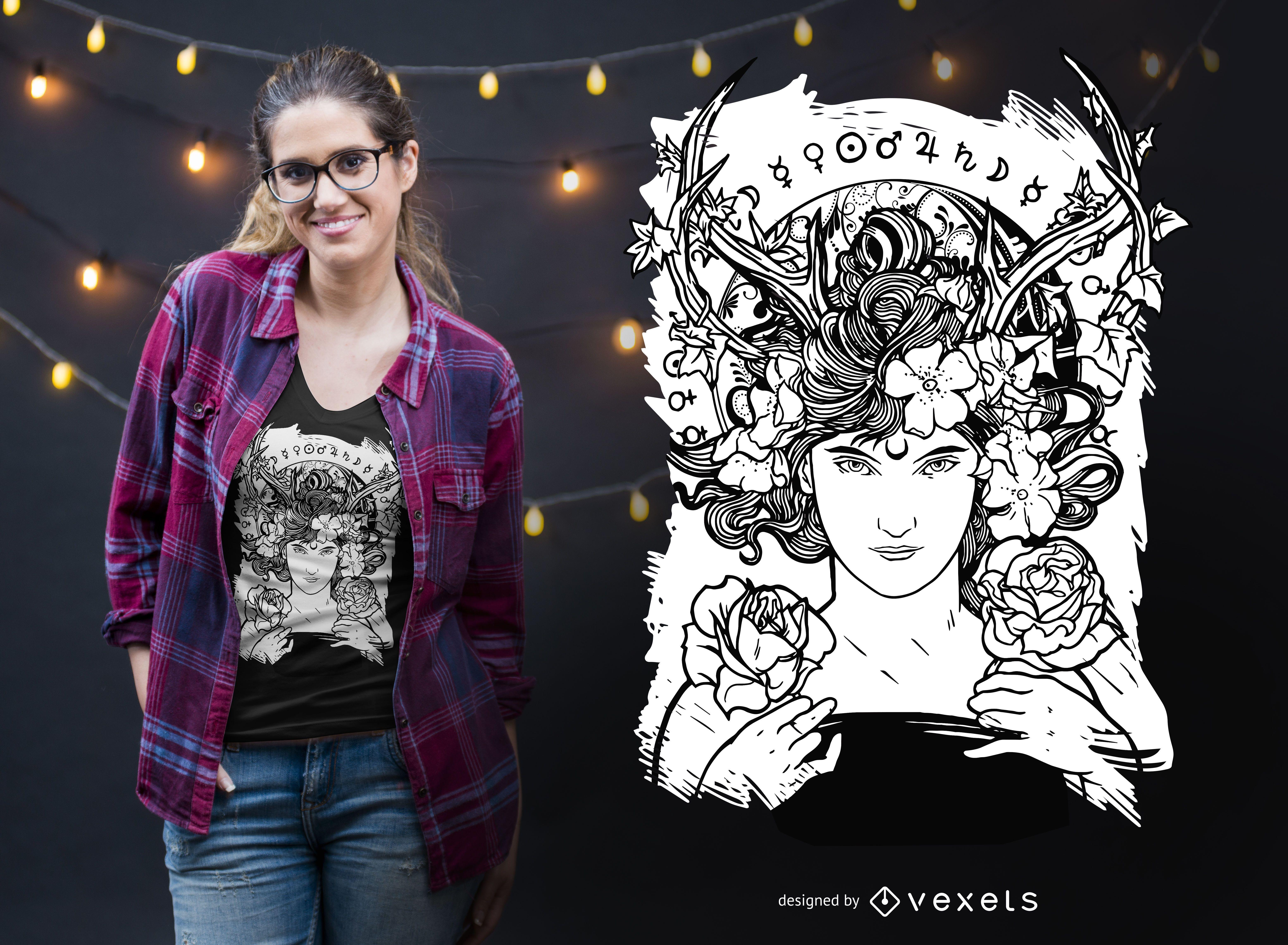 Diseño de camiseta de bruja art nouveau.