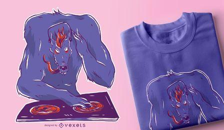 Design de t-shirt de DJ de lobo