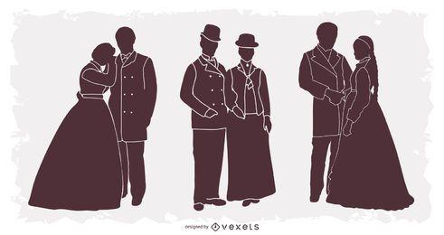 Pacote de silhueta de pessoas do século XX