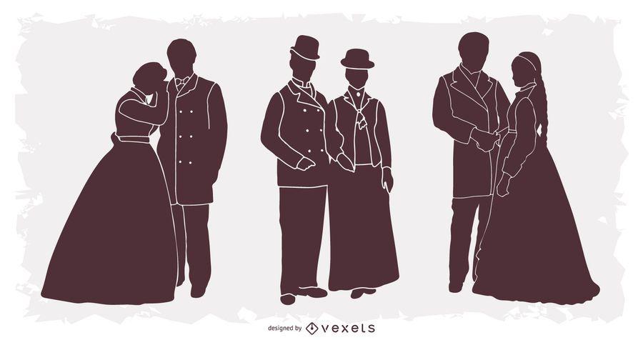 1900er Jahre Menschen Silhouette Pack