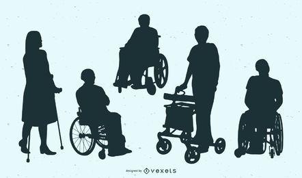 Coleção de silhuetas de pessoas com deficiência