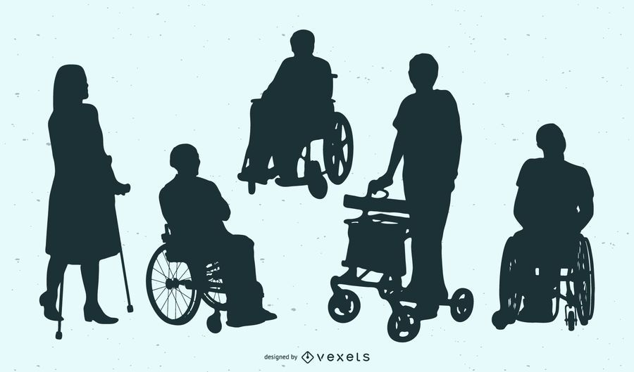 Disabled People Silhouette Collection
