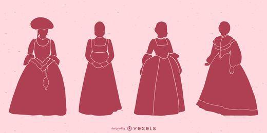 Pacote de silhueta de mulheres clássicas