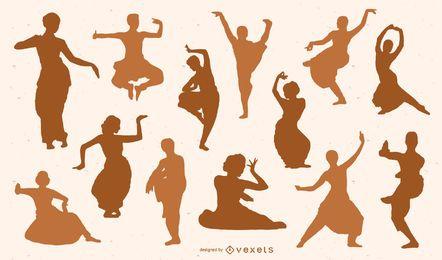 Conjunto de silhueta de dançarinos indianos