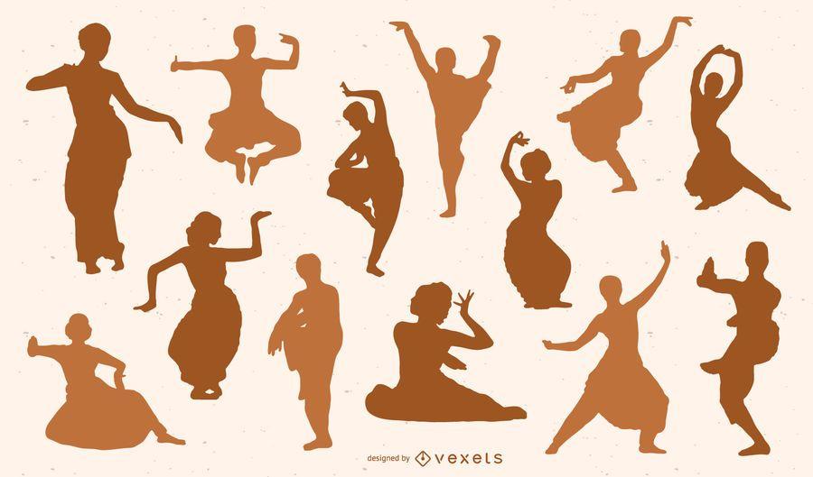 Conjunto de silueta de bailarines indios
