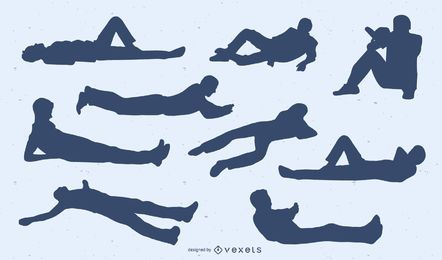 Laying men silhouettes set