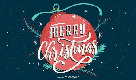 Letras de bola de feliz navidad