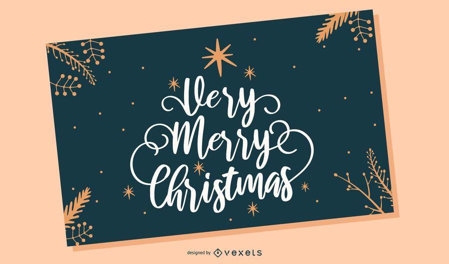 Feliz navidad tarjeta de letras
