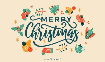 Frohe Weihnachten bunte Beschriftung