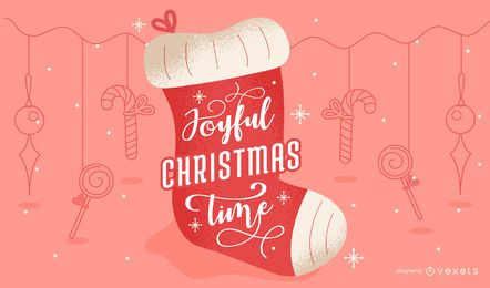 Joyful christmas lettering design