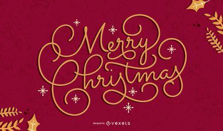Merry christmas artistic lettering design