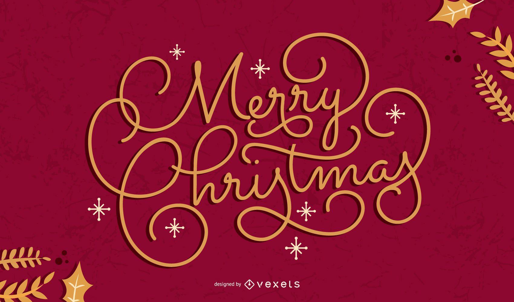 Feliz navidad diseño de letras artísticas