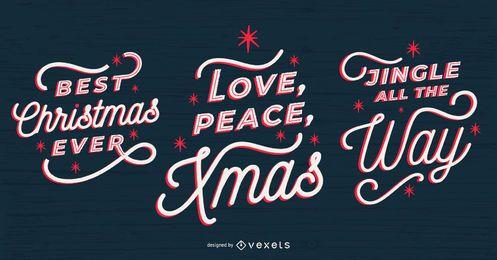 Weihnachts-Schriftzug-Set