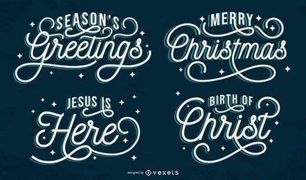 Conjunto artístico de letras navideñas