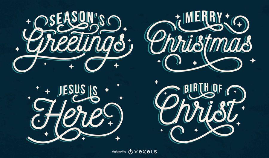 Artistic christmas lettering set