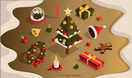 Conjunto de elementos de Navidad 3d