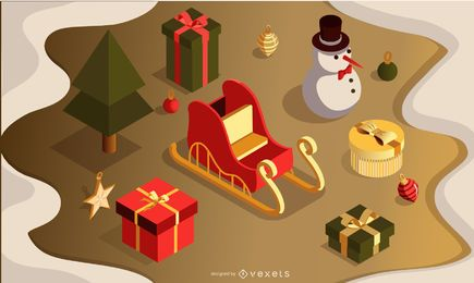 Christmas 3d vector set