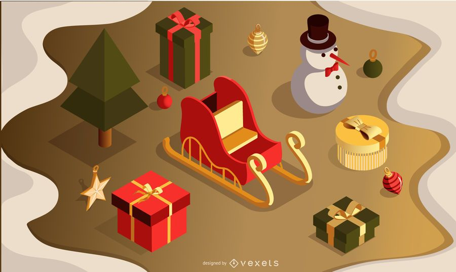 Christmas 3d vector set