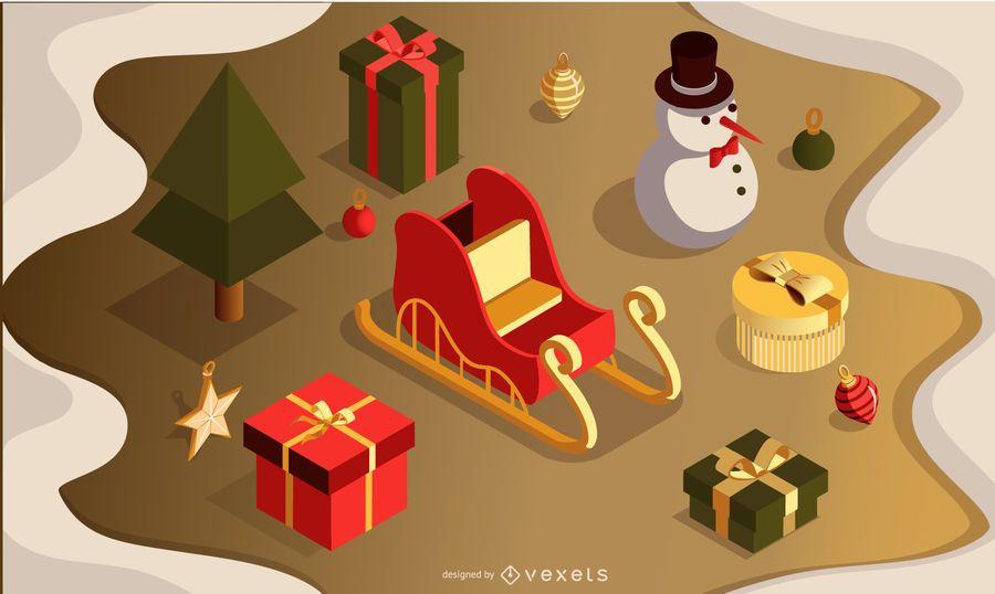 Conjunto de vectores 3d de Navidad
