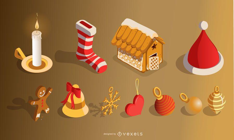 Conjunto de elementos de Natal 3D