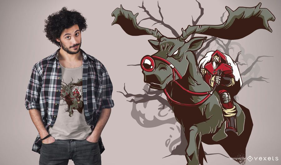 Projeto escuro do t-shirt de Rudolph do papai noel