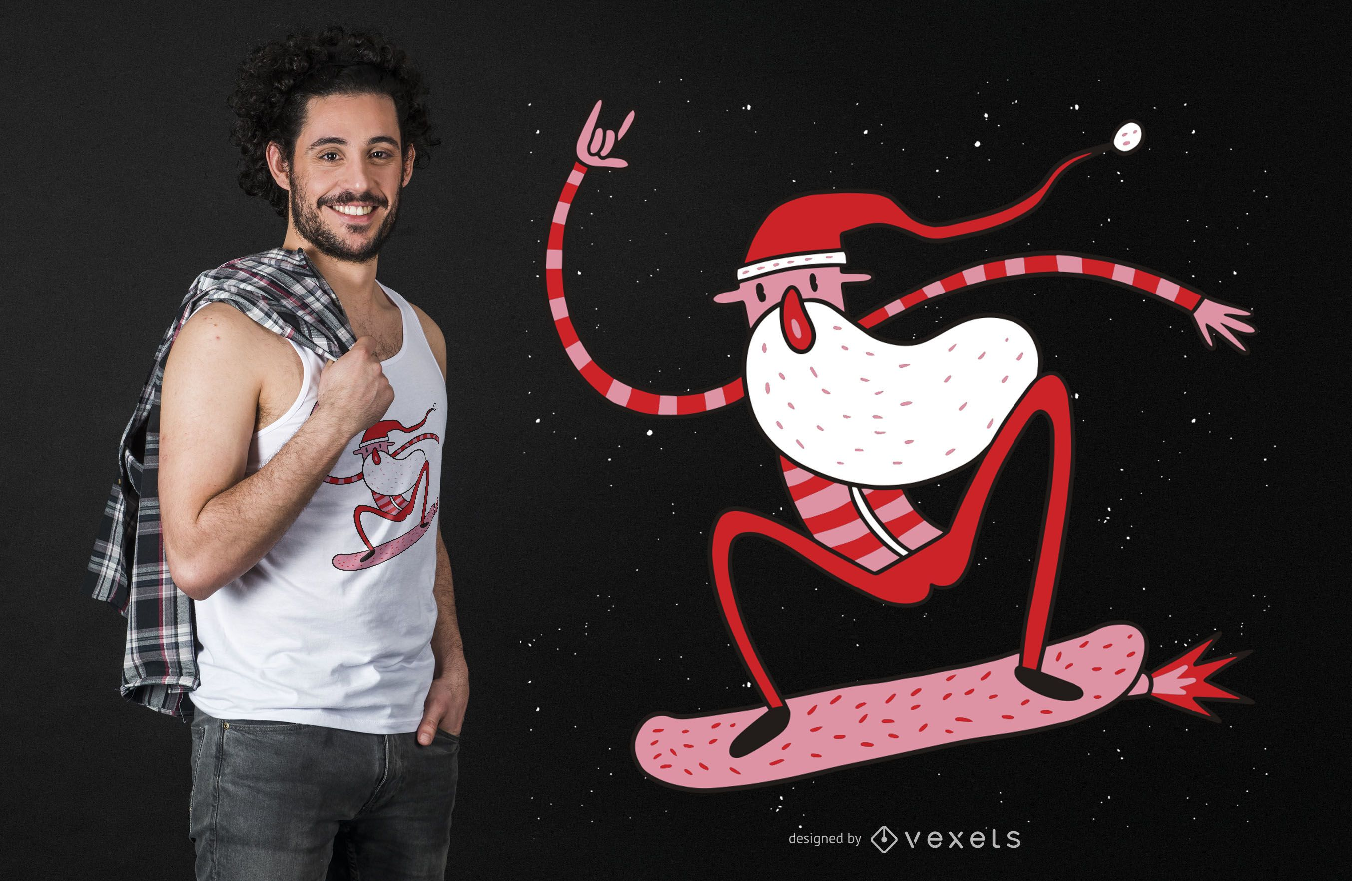 Fly skating santa t-shirt design